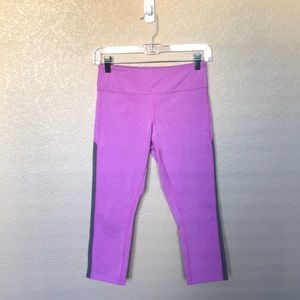 Asics Pink Capri Leggings with Mesh Side Cutouts